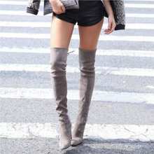 Bottes à cuisses hautes en daim pour femmes, chaussures Sexy, noir gris, noir, gris