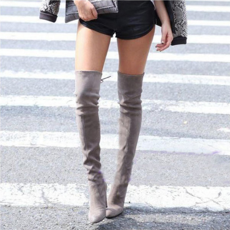 где купить Thigh High Boots Women Suede Over the Knee Boots High Heel Sexy Party Wedding Overknee Boots Fall Winter Shoes Black Grey дешево