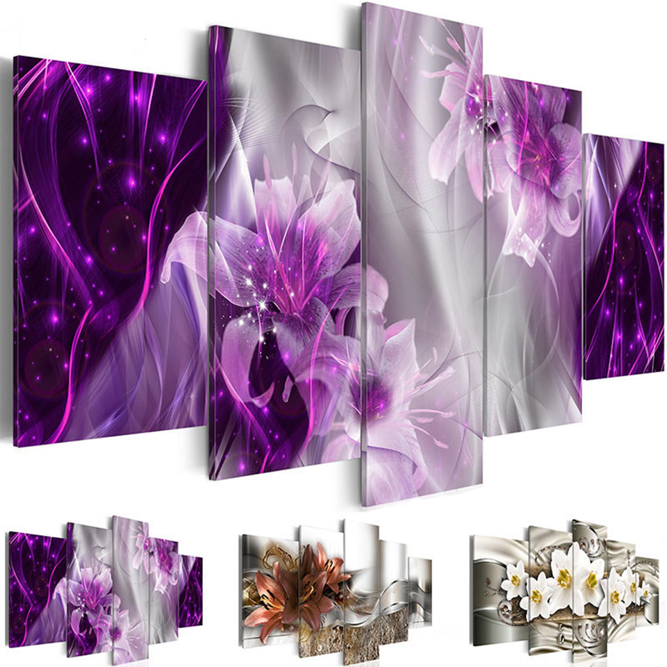Direct Selling Painting Prints 5 Piece Lily Flower Poster