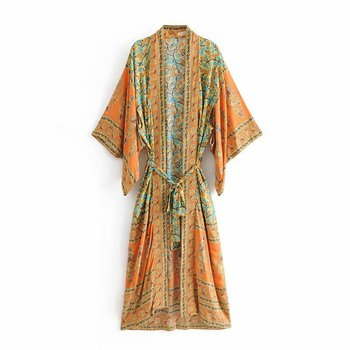 2019 Boho Chic Summer Beach Vintage Floral Print Sashes Long Kimono Women Fashion Cardigan Loose Blouses Casual Blusas Mujer floral print loose fit kimono