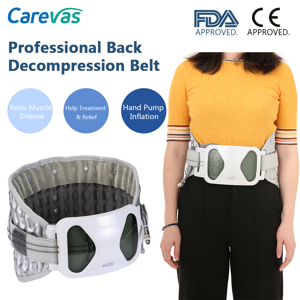 Carevas Back Decompression Support Belt Waist Lumbar Brace Spinal Air Traction Backache Pain Bone Care Tool