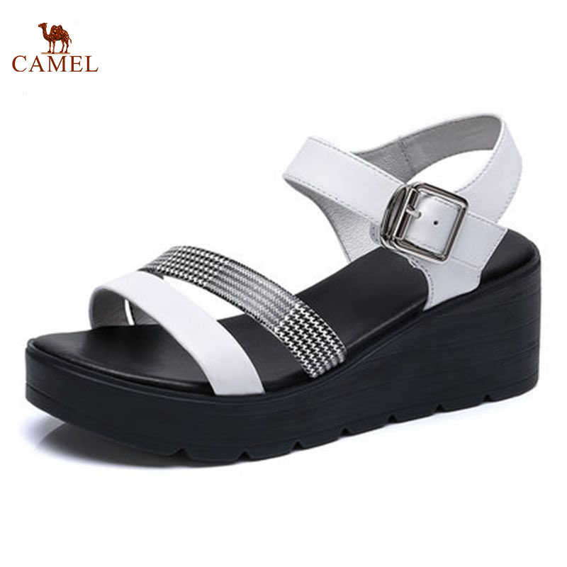 CAMEL Fashion Woman Sandals 2018 Summer New Women Wedge Heel Flats With Roman Casual Shoes Solid Buckle Strap For girls xiaying smile summer new woman sandals casual fashion shoes women zip fringe flats cover heel consice style rubber student shoes