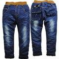3674 хлопчатобумажной ткани и тонкий флис зимние брюки мальчики джинсы девушка брюки детские детские джинсы мода 2016 новый красивый