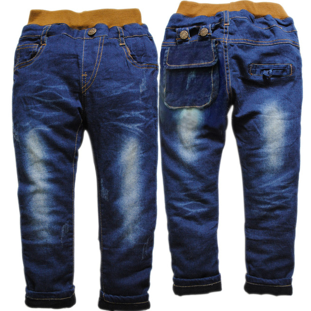 3674 denim and  thin  fleece winter pants boys jeans girl trousers children's  kids jeans  fashion  2016 new nice