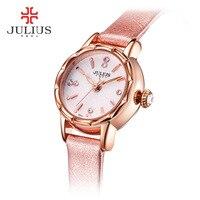 2017 JULIUS New Top Brand Genuine Leather Montre Femme Casual Dress Watch Ladies Wrist Quartz Watch Women Watches Red Clock Gift