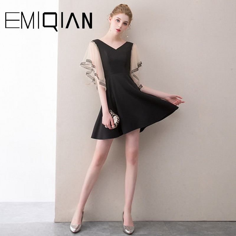 NEW Sexy V Neck Formal Prom Party Dress Above Knee Black Cocktail Dress