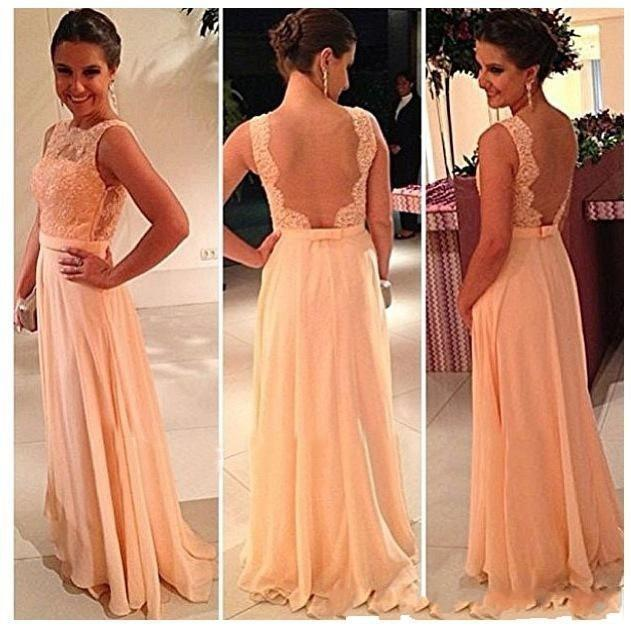 2017 See Through Back Top Lace Long Chiffon Peach Backless Bridesmaid Dress Maid Of Honor Wedding Party In Dresses From Weddings