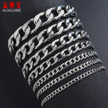 Auxauxme Trendy Stainless Steel Cuban Link Chain Braclet For Women Men Polished Curb Cuban Link Chain Hiphop Jewelry Wholesale(China)