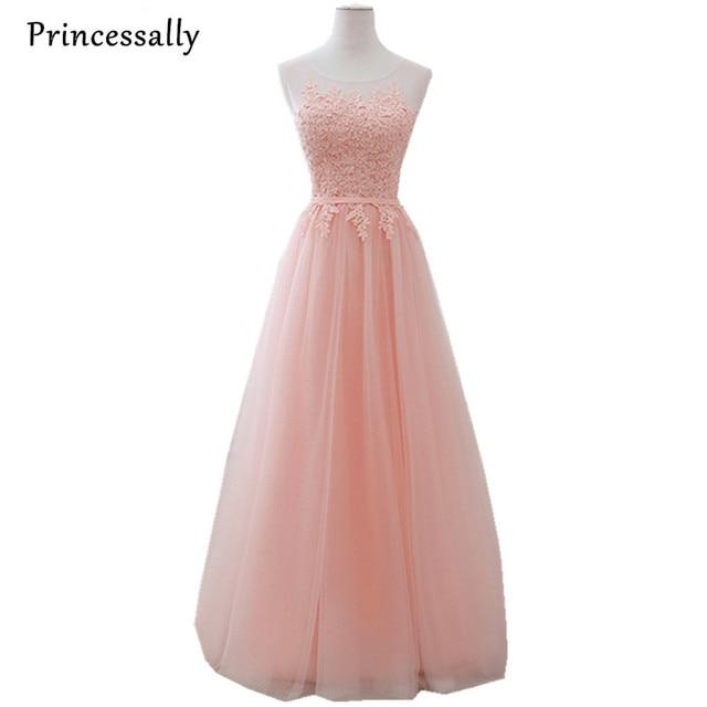 57b7f872104 Vestido De Noiva Long Blush Pink Evening Dress Appliques Lace Sheer Neck  Formal Bride Elegant Wedding Prom Party Formal Gown
