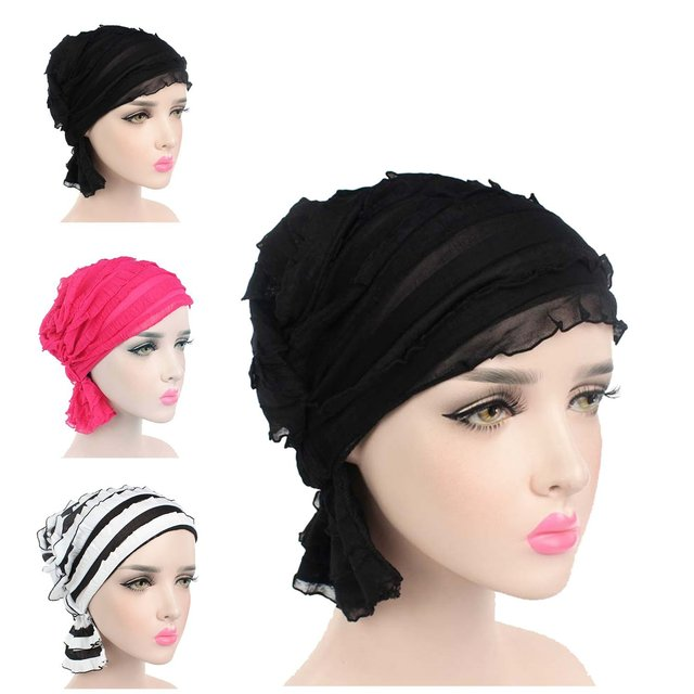 6826cc935ee turban women fashion Muslim headscarf hat wrinkled chiffon cow hat turban  Scarf and colorful for cotton