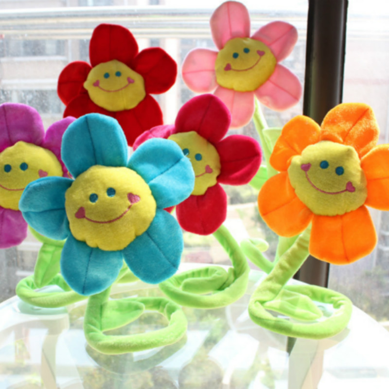 Cute Lovely Plant Plush Doll Stuffed Smiling Face Sunflower Plush Toy Curtain Decoration Gift for Girl