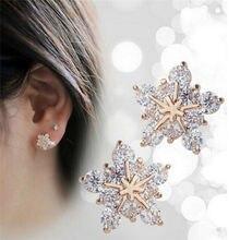 Luxury Stud Earrings for Women Rhinestone Snowflake Earrings Fashion Small Fresh Metal Crystal Flowers Star mini Earrings Gift
