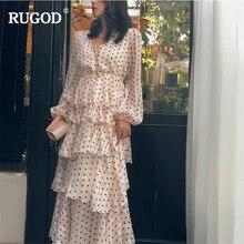 RUGOD Elegant cascading ruffle dress women temperament gold line long sleeve party dress casual dot print bohemian beige dress