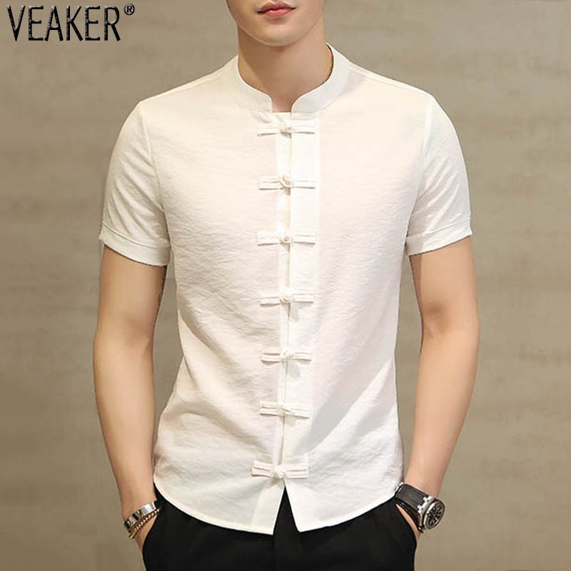 2019 New Men's Cotton Linen Short Sleeves Shirt Male Chinese Style Mandarin Collar Slim Fit  Shirt Black White Summer Shirt Tops