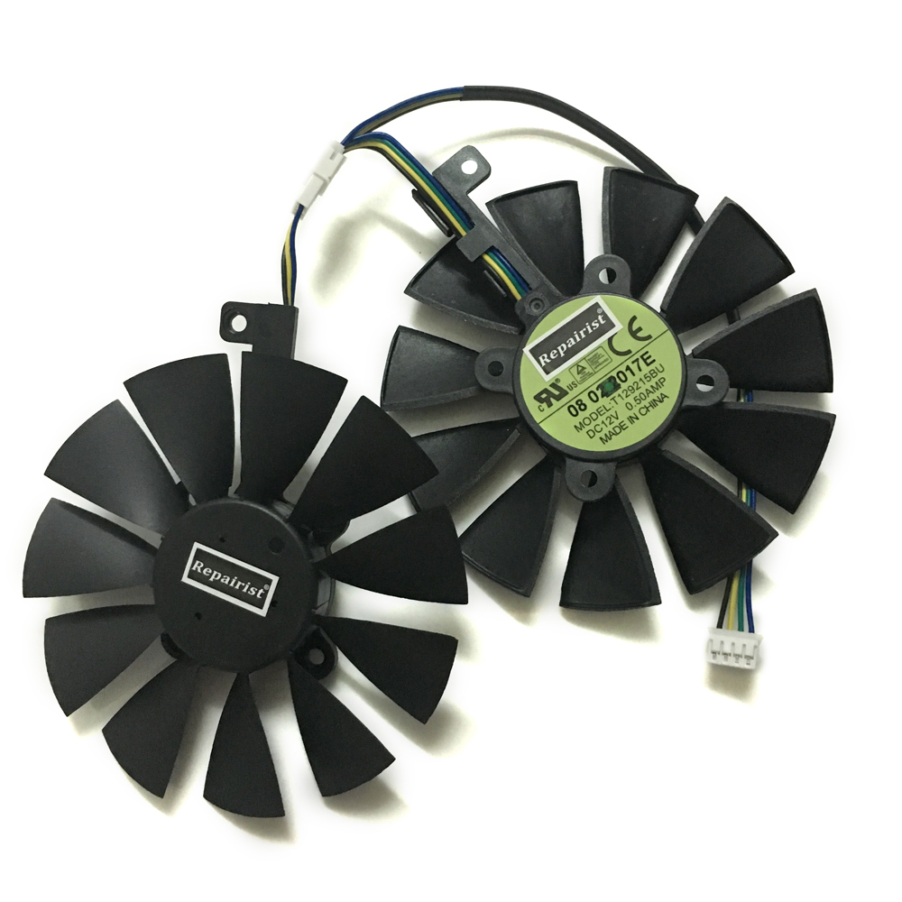 GTX1070 RX480 RX570 VGA gpu cooler Fan T129215BU for ASUS EX-GTX1070-O8G DUAL-RX480-O4G EX-RX570-O4G graphics Video card cooling 2pcs computer vga gpu cooler fans dual rx580 graphics card fan for asus dual rx580 4g 8g asic bitcoin miner video cards cooling