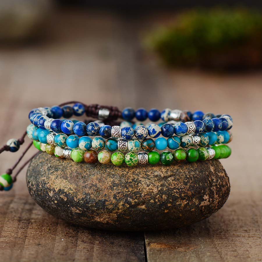 Premium Beads Bracelets Stone Japser Fancy Friendship Bracelets Lovers Couples Yoga Bracelet Jewelry Gifts