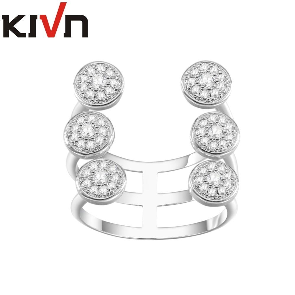 KIVN Fashion jewelry Pave CZ Cubic Zirconia Womens Girls Bridal Wedding Engagement Rings font b Christmas