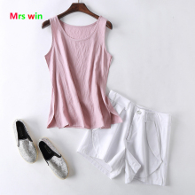 Cotton Linen Tank Top candy color top quality Women Summer Tops Solid Blouses Sleeveless Shirts Female Fitness S-4XL solid color cotton tank top