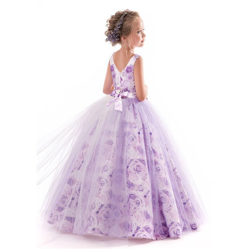 2018 New Kids Dresses For Girls Purple Print Tulle Long Dress Girls Evening Party Clothes Flower Girls Wedding Party Vestidos by megyn designer maxi dresses high quality women long sleeve crystal beading print vintage evening party long dresses vestidos