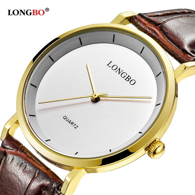 2017 LONGBO Luxury Quartz Watch Casual Fashion Leather Strap Watches Men Women Couple Watch Sports Analog Wristwatch Gift 80260 longbo simple square dial lovers quartz watch casual fashion steel strap watches men women couple watch sports analog wristwatch