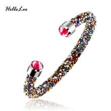 2017 Brand New Design 17 color Charm Bracelets & Bangles Women Crystal Bracelet Rhinestone Open Bangle Jewelry wholesale