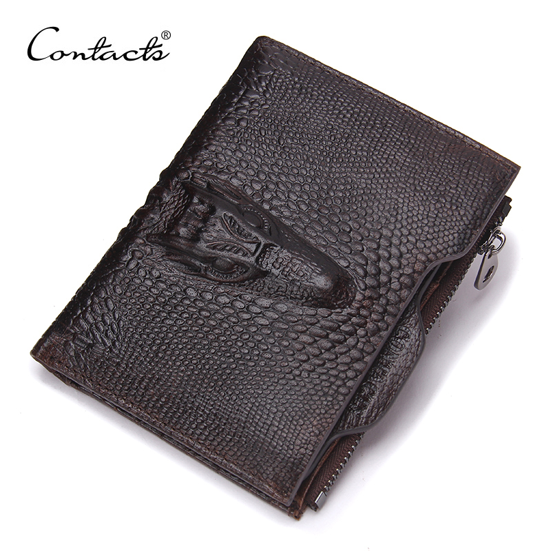 CONTACT'S Genuine Leather Men Wallets Famous Brands Alligator Mens Wallet Male Money Purses Coins Wallets With ID Card Holder men s short leather wallets male famous brand business purses with card holder wallet for men