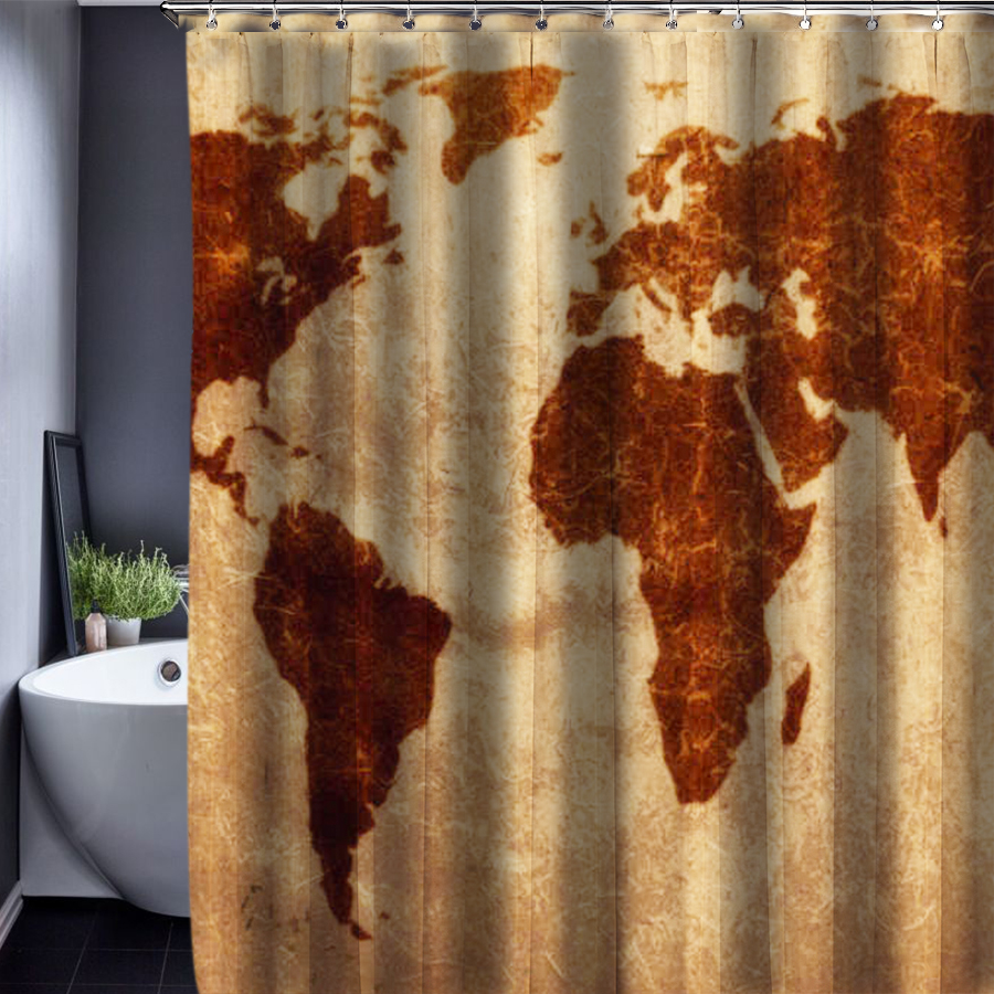 Treasure map shower curtain - Black And White World Map Shower Curtain Shower Curtain World Map Pattern Creative Shower Curtain