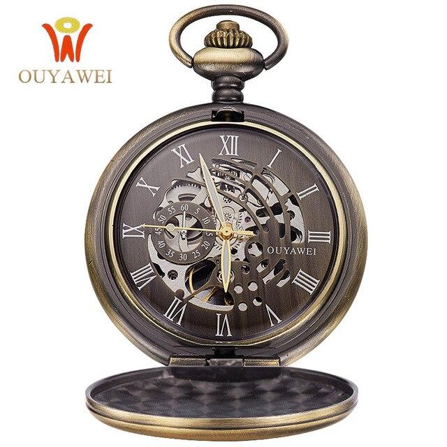 OUYAWEI Antique Skeleton Mechanical Pocket Watch Men Chain Necklace Business Cas