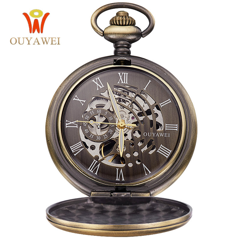 OUYAWEI Antique Skeleton Mechanical Pocket Watch gift Men Chain Necklace Business Casual Pocket & Fob Luxury watches clock luxury antique skeleton cooper mechanical automatic pocket watch men women chic gift with chain relogio de bolso
