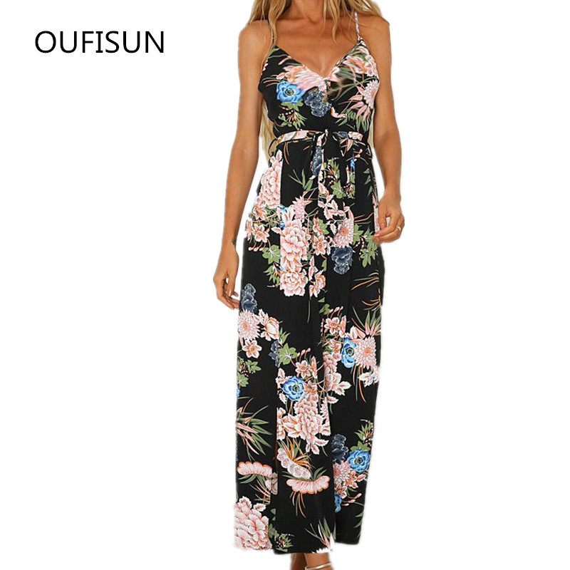 Summer Women   Jumpsuit   Sexy V Neck Spaghetti Strap   Jumpsuits   Backless Floral Printed With Belt Wide Leg Casual Split   Jumpsuit