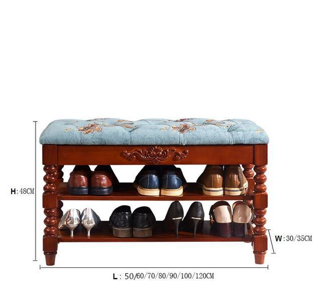 American Solid Wood Shoes Bench Indoor Storage Bench Shoe Rack