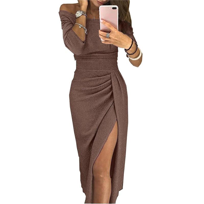 De Fête Mode Moine Épaule Off Haute Bretelles Moulante Sexy Slash Nu Dos Femmes Robe Pour Longue Élégante Taille RaqTq4w