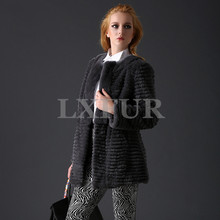 Elegant Full Pelt Stripe Rex Rabbit Fur Coats Graceful Real Rex Rabbit Fur Thick Jackets Winter Solid Overcoat LX00630