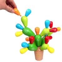 Wooden Cactus Building Blocks DIY Educational Toys Kids Children Game Fun Kids Toys