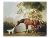 Horse paintings of George Stubbs Ballerina Bay Horse and White Dog Hand painted canvas art High quality