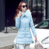 Big Fox Fur Hooded Winter Jacket Women 2017 Slim Long Padded Cotton Coat Hairy Parkas Fashion