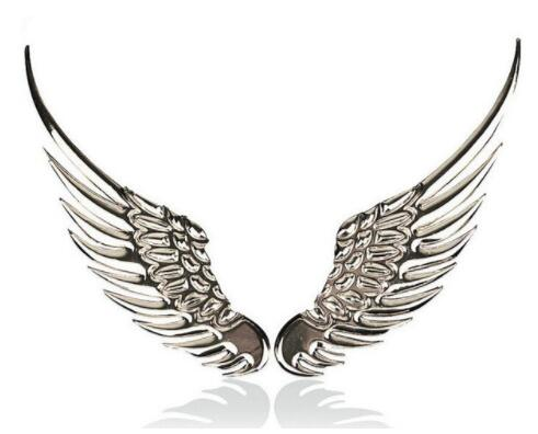 Автомобильный Стайлинг смешная наклейка значок для автомобиля крылья АНГЕЛОВ 3D металлическая Авто Наклейка для ford bmw renault volkswagen mazda lada toyota - Название цвета: silver