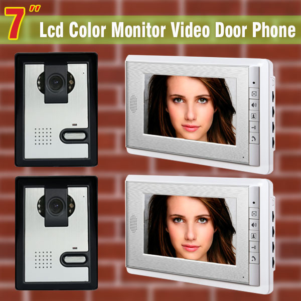 7 video door phone intercom system night vision intercom video doorphone system  2 Camera + 2 Monitor video intercom door bell black new original lcd display touch screen digitizer replacement assembly with tools for htc desire 500 free shipping