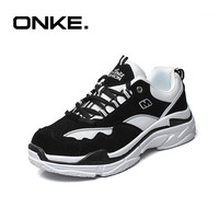 ONKE Women S Height Increasing Running Dad Shoes Clunky Sneakers Black White Patchwork Outdoor Walking Traveling