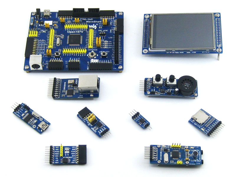 WS STM32 Development Board Open107V Package B For STM32F107V Series STM32F107VCT6 MCU With 9 Pcs Expansion Modules