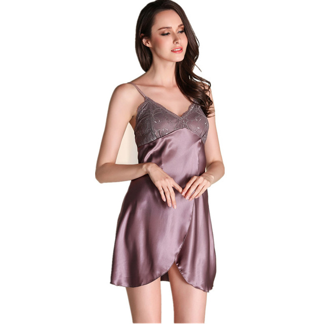 Satin Nightwear Womens Nightdress Summer Night Dress Women Faux Silk  Sleepwear Nightgown Gecelik Nighties For Women 09598777dc