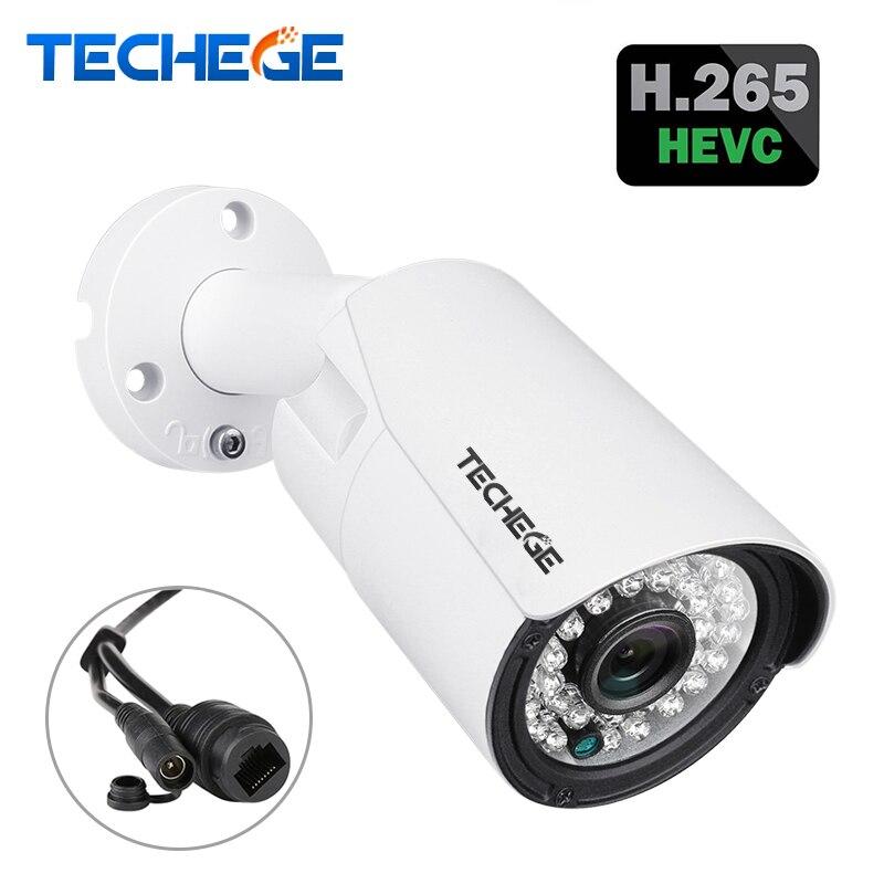 Techege H.265 IP POE Caméra de Sécurité Extérieure Imperméable Vidéo Surveillance Caméra Motion Dectection Onvif FTP Caméra 5MP 3MP 2MP