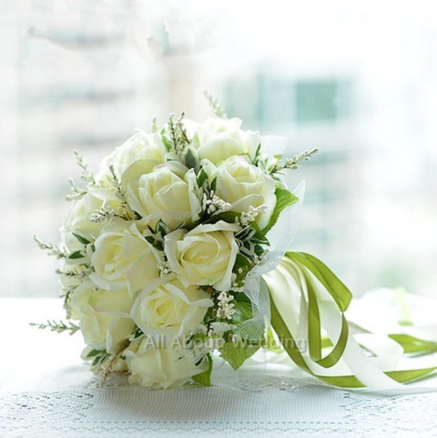 Artificial Vintage Wedding Bouquets For Bride Silk Hand Holding Flowers Handmade Wedding Bridal Bouquet Accessories White Rose