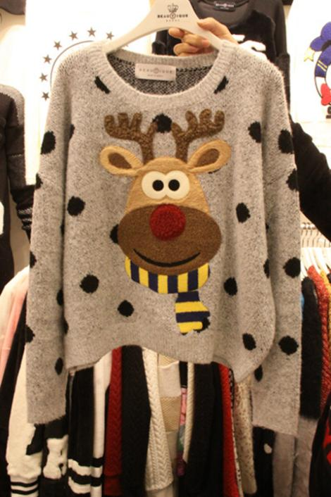 Discount during the spring and autumn winter new lovely embroidery elk Christmas sweater ms wave knitwear