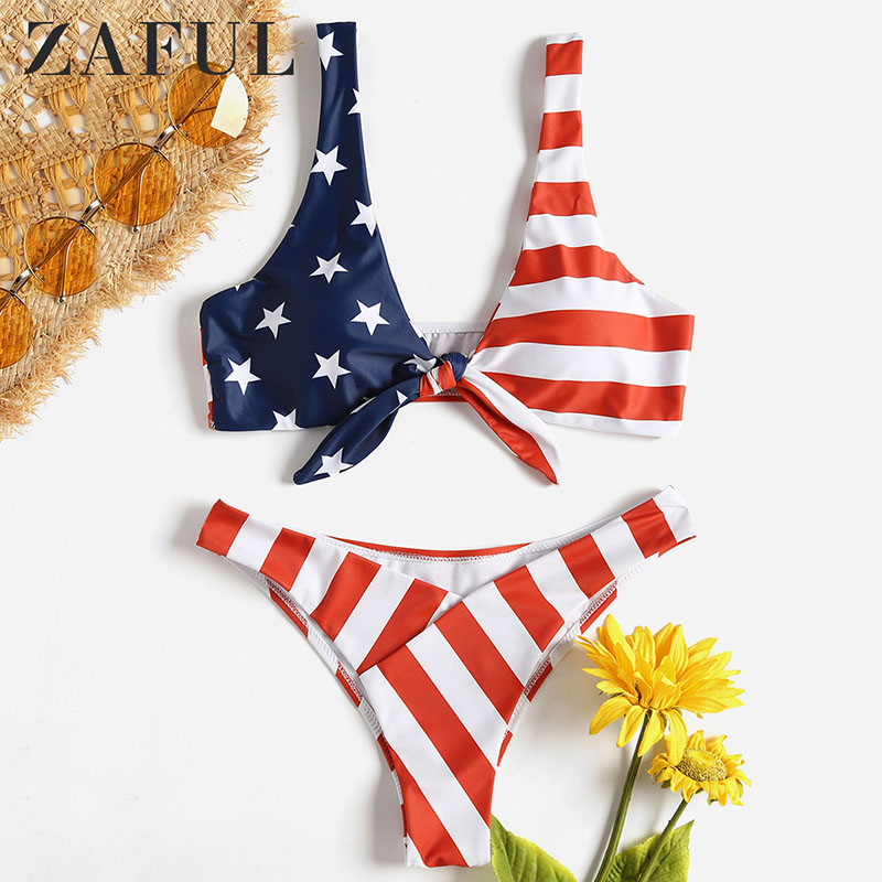 Humorous Zaful American Flag Knotted Bikini Swimwear Women Swimsuit Sexy Plunging Neck Low Waist Padded Bathing Suit Thong Biuqni 4396 Special Summer Sale Asia & Pacific Islands Clothing