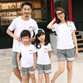 Family matching outfits summer cotton family look clothes sets sports mother daughter Boys Girls family T shirts + Pants