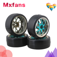 Mxfans 4 x Drift Tires & Y Shape Blue Hub Wheel Rims for RC 1:10 Drift Car Black Plastic