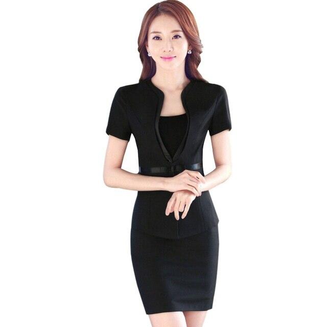 Fashion Short sleeve work wear office uniform designs women plus size skirt suit OL summer slim ladies suits formal set short dresses office wear
