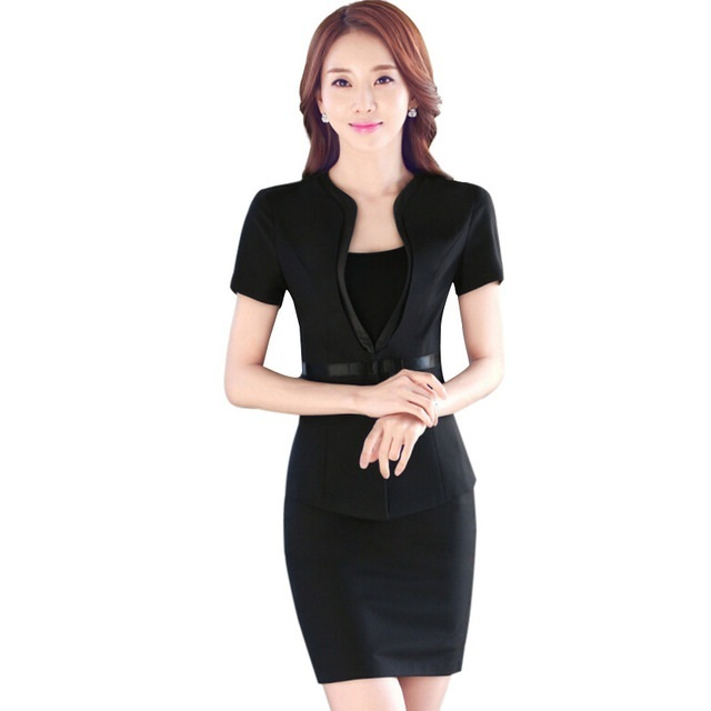 03d72f972cdd Fashion Short sleeve work wear office uniform designs women plus size skirt  suit OL summer slim ladies suits formal set