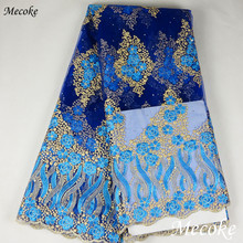 Top Best Selling Swiss voile laces African Lace Fabric Deep blue Nigerian French Fabric High Quality Nigeria Tulle cord Lace